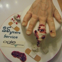 Hand Cake 25 Years Serives for guy at work who cut the end of his finger off using some industrial equipment. Painfull memories...Ouch! He loved this...