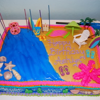 Beach Cake For My Daughters Birthday Marble Cake With Buttercream Frosting And Cookies And Cream Whip Cream Filling Wilton Candy Melts For... Beach cake for my daughters birthdayMarble cake with buttercream frosting and cookies and cream whip cream filling. Wilton candy melts for...