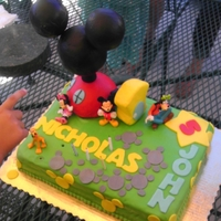 Mickey Mouse Clubhouse Cake i made this for my twin's 5th birthday since they love mickey mouse clubhouse. It's a chocolate cake with mixed berry filling,...