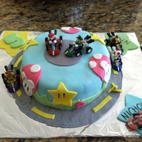 "Mario Kart Birthday Mini Cake i made this mario kart birthday cake for my twins who turned 5. It's a 6"" round chocolate cake filled with a mixed berry jam,..."