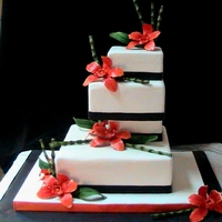 Black, White Ornge Modern Wedding Caake fondant/gum paste flowers