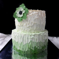 Green Ombre Buttercrem Cake buttercream with modeling chocolate flower