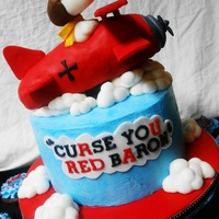 Snoopy Birthday Red Blue Buttercream Cake