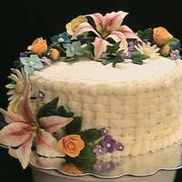 Flower Cake my first gumpaste and buttercream covered cake