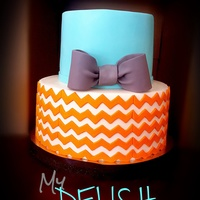 Baby Shower Cake Tiffany Blue With Orange Chevron Baby Shower CakeTiffany Blue with orange chevron