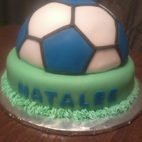 "Soccer Cake  Birthday girl requested a blue, black and white soccer ball cake. I hand carved the ball from a 8"" round, and it is covered and..."