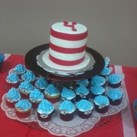 Dr. Suess Cake And Cuppies They ordered a tall hat cake with Thing 1 and Thing 2 cupcakes. Turned out super-cute!