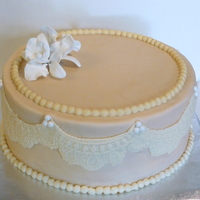 Pearl And Lace Bridal shower cake with a vintage feel. Lace and Pearl