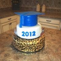 Jaguar Grad Cake used gold food color spray on bottom tier and painted on black spots