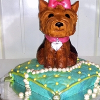 Yorkie Pup rkt Yorkie covered in fondant on a 8x8 pillow cake