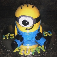 Minion 4, 6in red velvet cake for height & half mini sports ball pan for a rounded top, frosted then covered in fondant