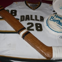 Hockey Stick 9x12 cake cut out to make a hockey stick.