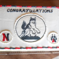Northeastern University Huskies Graduation Cake Half sheet chocolate cake with BC
