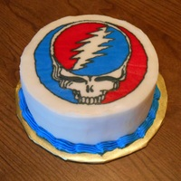 Grateful Dead Skull Cake   6 inch Vanilla cake with BC frosting, image is BC transfer image