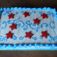 Memorial Day Cake Chocolate cherry cake with vanilla BC and white chocolate stars