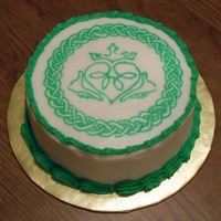 "Celtic Claddagh Cake - Irish 6"" Round Vanilla Cake with Irish whiskey BC frosting"
