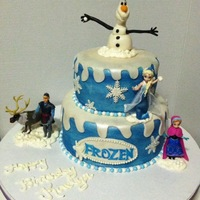 Disney's Frozen Cake Handmade Olaf using MMF Painted over white MMF with blue pearl dust/paint. Shimmer over whole cake with pearl dust