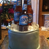 Ice Chest Birthday Cake Bottles and ice cubes were made from isomalt, labels are edible images