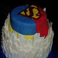 Superman Fortress Of Solitude Loved making this cake. It didn't photograph well, but, it was very superman-ey. has about two pounds of white chocolate 'ice...