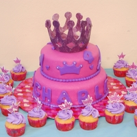 Princess Cake Made this cake for my nieces. Crown is was cut out with the cricut. Its made out of gumpaste.