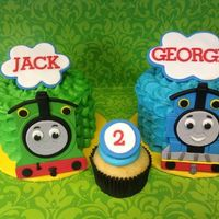 Thomas The Tank Engine And James *smash cakes for twins turning 2
