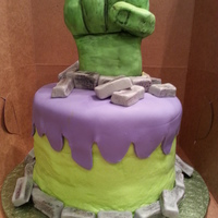 "The Incredible Hulk  Small 6"" cake. Hand is RKT covered in fondant. I purposely didn't smooth the icing perfectly so it would look like the fist &quot..."