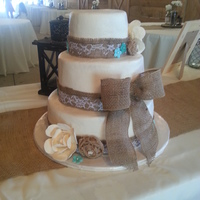 This Wedding Took Place On A Working Farm And The Reception Was In The Barn Cake Is Vanilla With Buttercream Burlap Ribbon And Burlap Rose... This wedding took place on a working farm and the reception was in the barn. Cake is vanilla with buttercream. Burlap ribbon and burlap...