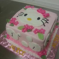 Hello Kitty First Birthday Cake Is Strawberry With Buttercream Hello Kitty first birthday. Cake is strawberry with buttercream.