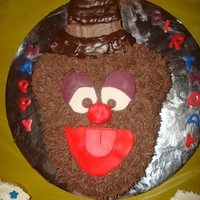 Fozzie Bear Cake  Fozzie Bear Cake with chocolate buttercream frosting (I know he's lighter, but I figured the chocolate frosting would be yummy) and...