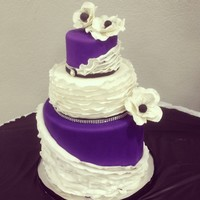 Purple Black And White Wedding Cake Ruffles And Anemones Galore Purple black and white wedding cake Ruffles, and anemones galore