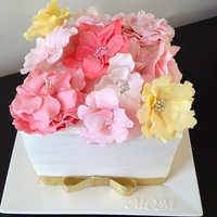 Mothers Day Cake Cubed Mothers Day Cake with Flowers, Vanilla buttercream frosted, fantasy flowers