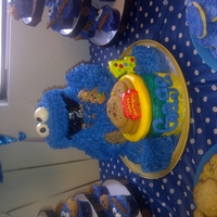 Cookie!! Cookie Monster Cake....chocolate chip cookie cake.... homemade buttercream icing and some mmf accents