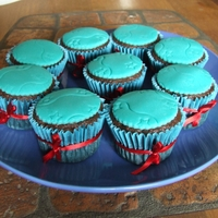 Chocolate Cupcakes   Chocolate cupcakes decorated with aqua fondant