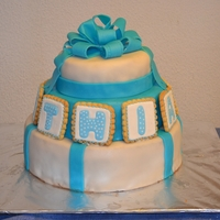 Mathias Cake   Marbled three tiered cake for a Christening