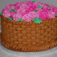 Basket Full Of Roses A chocolate with cherry filling cake. Decorated with basketweave piping and roses. This was created for a breast cancer fundraiser event.