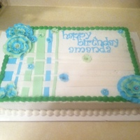 Blue And Green Birthday Sheet Cake