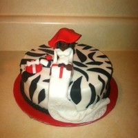 Red And Zebra Bride With Hat Cake
