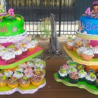 Cakefor Princess Granddaughters Fondant covered cakes on towers of cupcakes