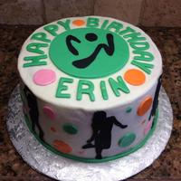 Zumba Birthday Buttercream with Fondant circle and letters. Dancers are with sugar sheets.