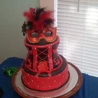 Masquerade Birthday Party Chocolate cake with Chocolate MMF. All idible except feathers and ruby gem!