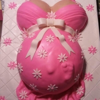 Pregnant Belly Cake I used a large pyrex bowl to bake the belly and the sports ball pan for the Ta-Ta's. buttercream and MMF.