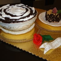Cup And Plate With Pastry Cake
