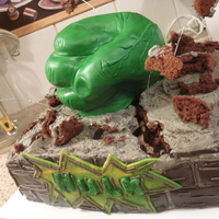 Hulk Smash Cake! Finished cake for hubby's birthday. I wanted the Hulk to smash his birthday cake. I should have better planned the execution of the...