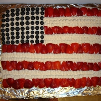 Flag Cake Rectangular cake frosted white with blueberries and strawberries for stars and stripes.