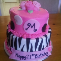 21St Zebra Birthday Buttercream with fondant accents
