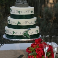 Lord Of The Rings I made this cake for my wedding. We are huge Lord of the Rings fans. The Lothlorien leaf and dragonfly are fondant and the topper is a...