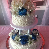 Finished Wedding Cake!   The cakes from previous photo, all done!