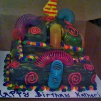 Slinky Cake!   Two tier chocolate cake with Slinkies climbing down! Even inside of cake is rainbowed out!