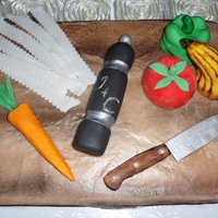 Cutting Board Groom's Cake   For the groom who is a chef! Cutting board cake complete with fondant knife and veggies!