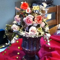 My Sugarflowers  This is an assortment of sugar roses, fresias, carnations and pulled flowers, my first creation, hope you like them, took an age to make, &...